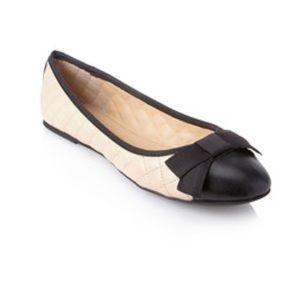 White tufted ballerinas contrast toe
